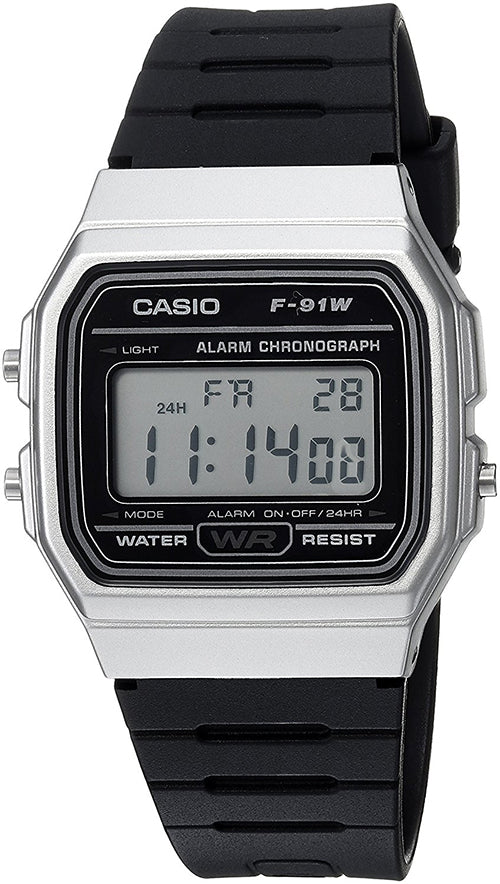 Casio Men's Digital Quartz Stopwatch Stainless Steel Black Resin Watch F91WM-7A