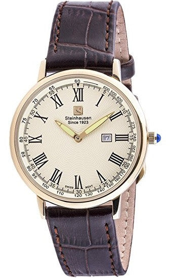 Steinhausen Men's Altdorf Gold Tone Brown Leather Watch S0124