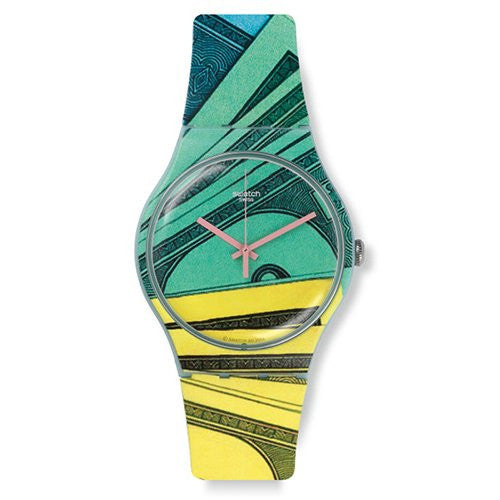 Swatch Money Honey Green-Yellow Dial Mens Quartz Watch SUOG107