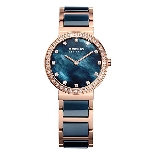 Bering Women's Crystal Accented Blue Ceramic & Rose Gold Plated Watch 10729-767
