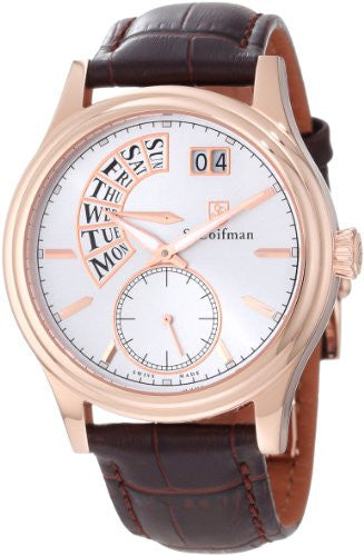 S. Coifman Men's Chrono Quartz Rose Gold Plated Case Brown Leather Watch SC0290