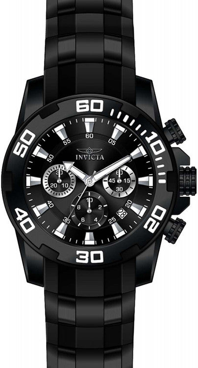 Invicta Men's Pro Diver Chrono 100m Black Stainless Steel/Silicone Watch 22338