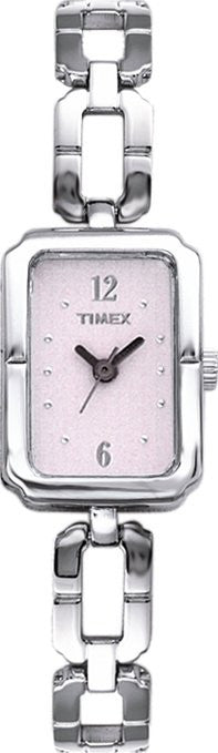 Timex Women's Rectangular Pink Dial Stainless Steel Bracelet Watch T76751