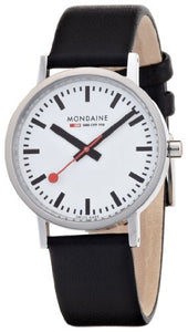 Mondaine Men's Classic Black Leather Band Watch 6603031411SBB