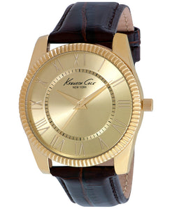 Kenneth Cole NY Women's Analog Quartz Gold Tone Brown Leather Watch 10021685