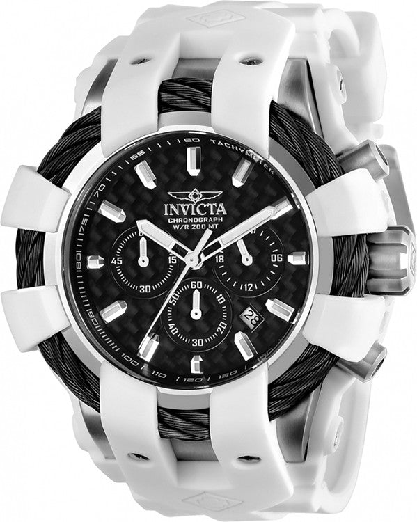 Invicta Men's Bolt Chrono Quartz 200m Stainless Steel White Silicone Watch 23856