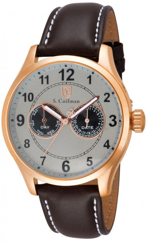 S. Coifman Men's Chrono Quartz Rose Gold Plated Case Brown Leather Watch SC0318