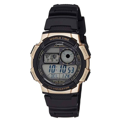 Casio Men's Digital 100m Quartz Resin Black/Gold Watch AE1000W-1A3