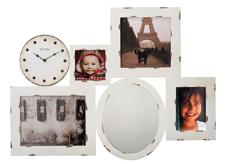 Bulova Gallery Aged Farm House White Picture Holder Mirror Wall Clock C4816