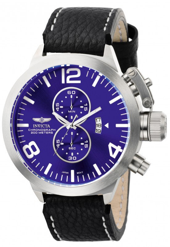 Invicta Men's Corduba Chronograph Stainless Steel Black Leather Watch 6603