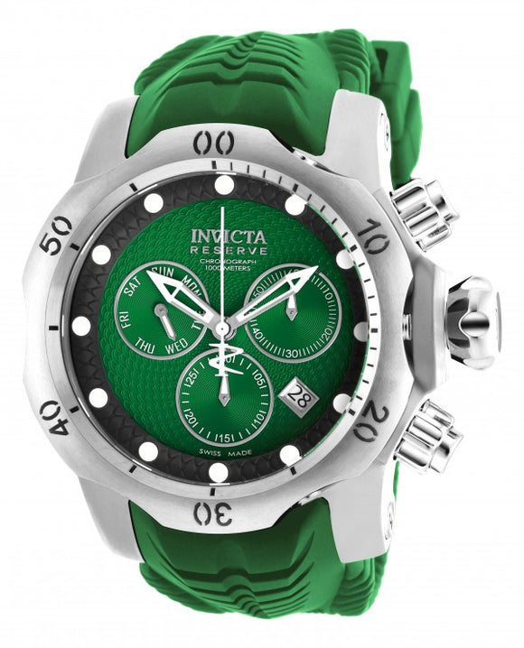 Invicta Men's Venom Chronograph 1000m Stainless Steel Green Silicone Watch 19007