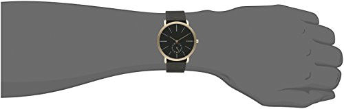 Skagen Men's Hagen Chronograph Gold Tone Case Black Leather Watch SKW6217