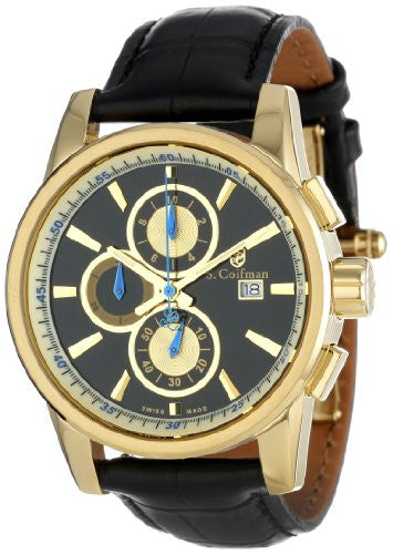 S. Coifman Men's Chronograph Quartz Gold Plated Case Black Leather Watch SC0255