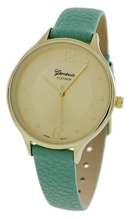 Geneva Platinum Women's Gold Tone Stainless Steel Light Green Leather Watch 9937