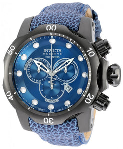 Invicta Men's Venom Chronograph 1000m Blue Reptile Print Leather Watch 18306