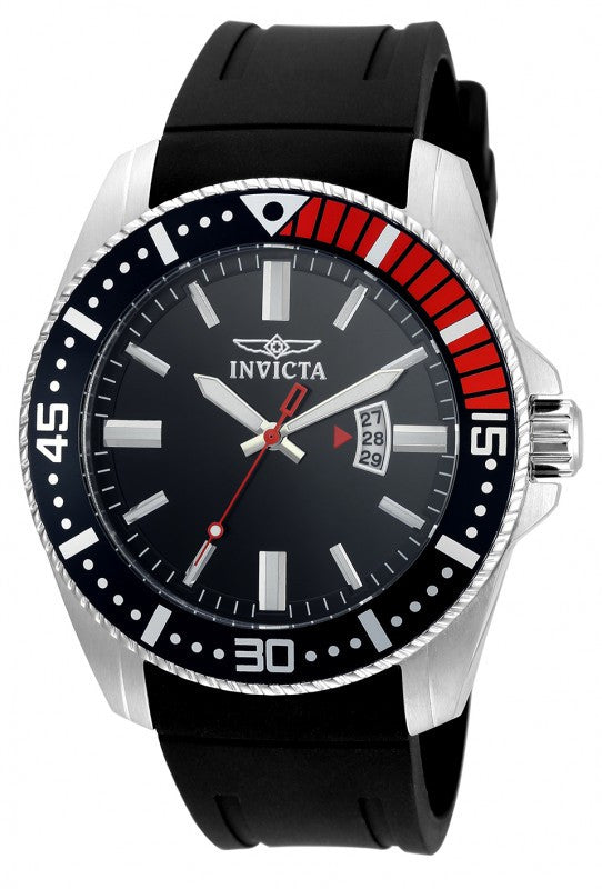 Invicta Men Pro Diver Quartz 100m Stainless Steel Black Polyurethane Watch 21445