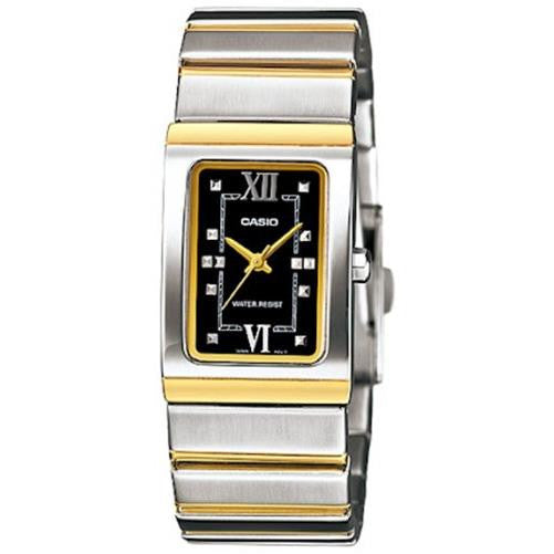 Casio Women's Core LTP1356SG-1A Two-Tone Stainless-Steel Quartz Watch with Black Dial