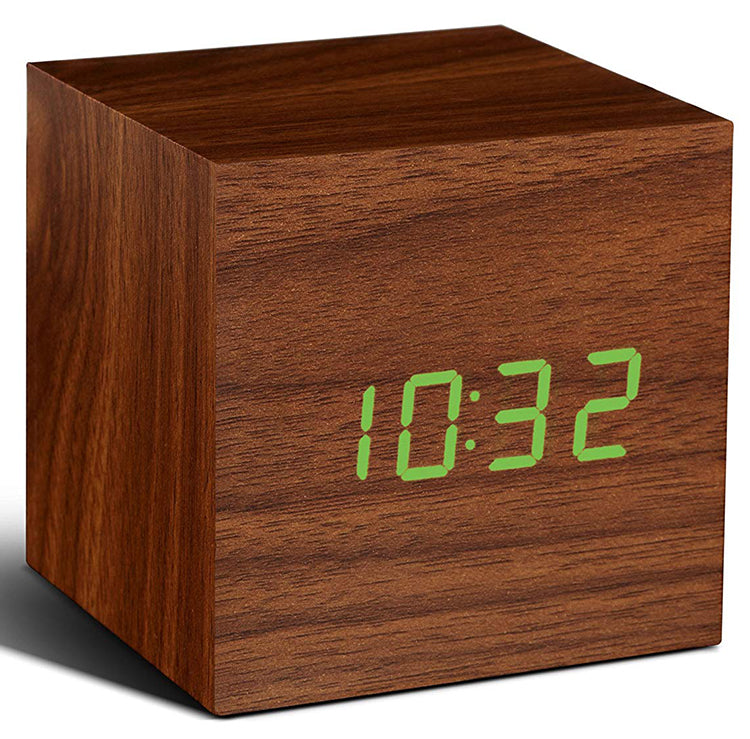 Gingko Walnut Cube Digital Click Clock/Green LED Alarm Clock GK08G8