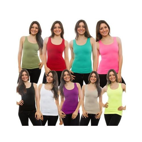3-PACK Womens Tank Top 100% Cotton Ribbed A-shirt Basic Workout Small