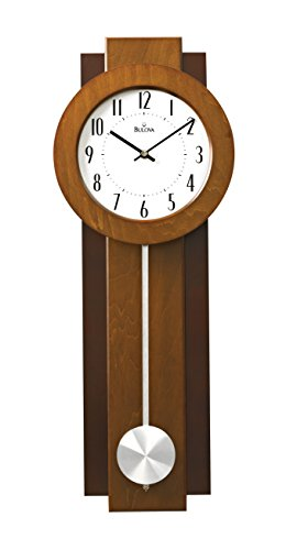 Bulova Avent Wooden Two-tone Walnut and Mahogany with Pendulum Wall Clock C3383