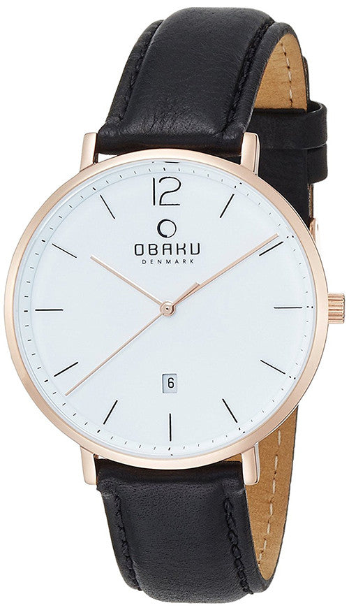 Obaku Men's Toft Rose Gold Tone Stainless Steel Black Leather Watch V181GDVWRB