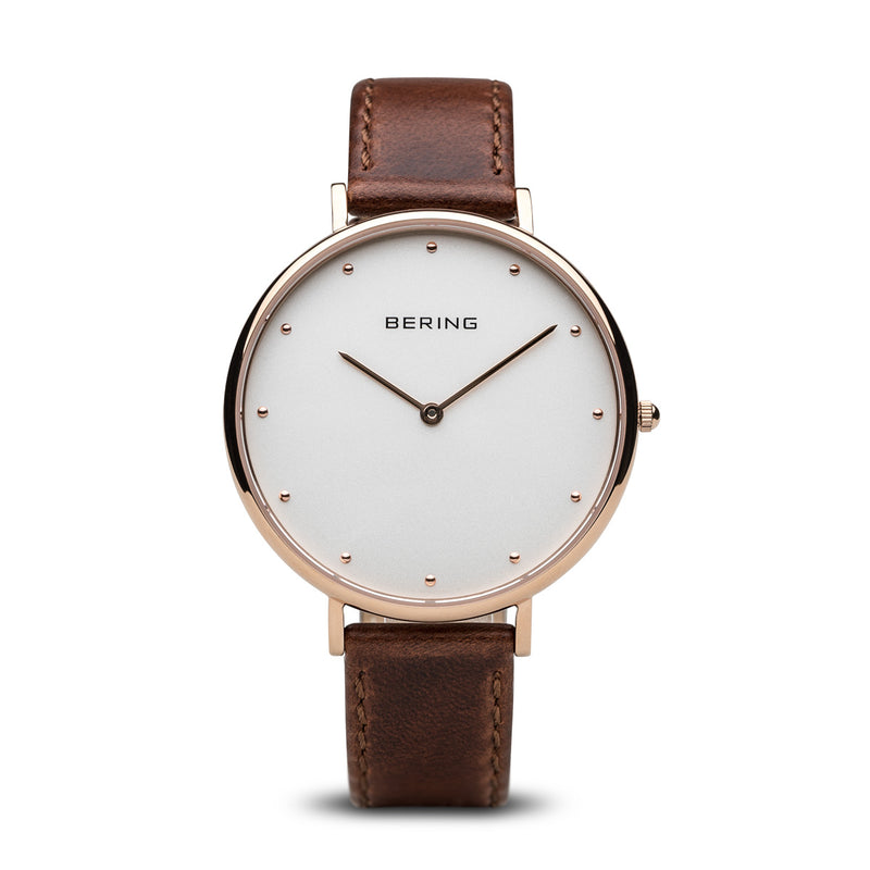 Bering Classic Women's Quartz Stainless Steel Brown Leather Watch 14839-564