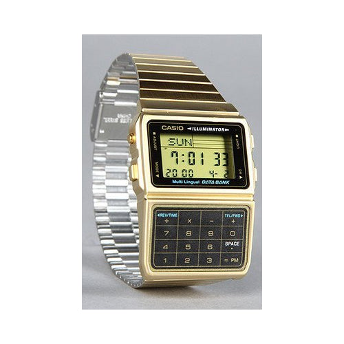 Casio Men's Gold Plated Stainless Steel Databank Calculator Watch DBC611G-1