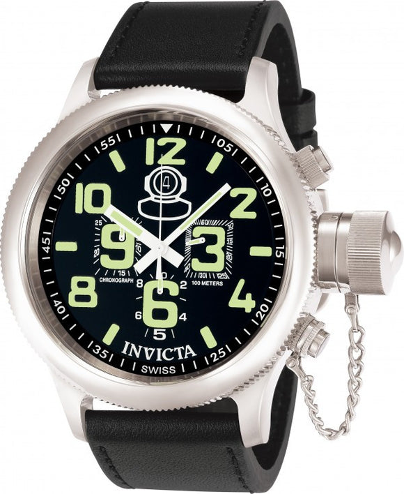 Invicta Men's Russian Diver Chronograph Stainless Steel Black Leather Watch 7000
