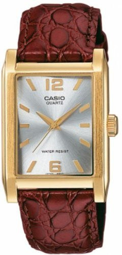 Casio Men's MTP1235GL-7A Brown Leather Quartz Watch with Silver Dial