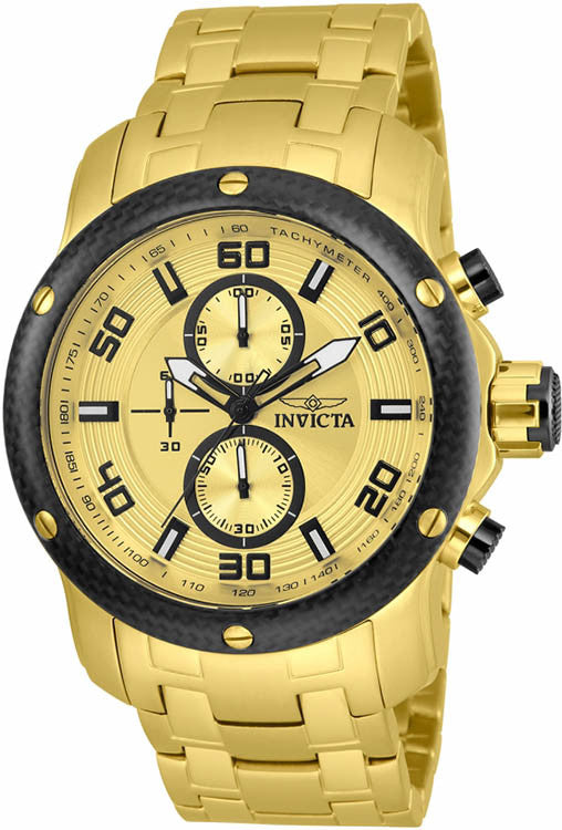 Invicta Men's Pro Diver Chronoograph 100m Gold Tone  Stainless Steel Watch 24155