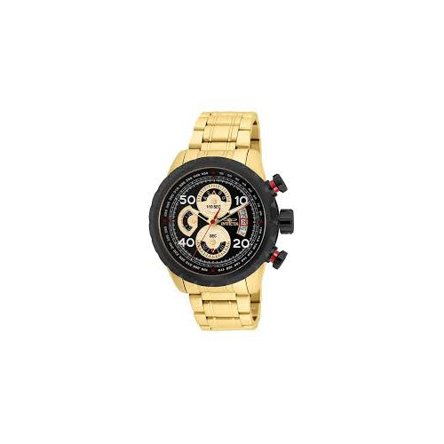 Invicta Men's 28151 Aviator Quartz Multifunction Black, Gold Dial Watch