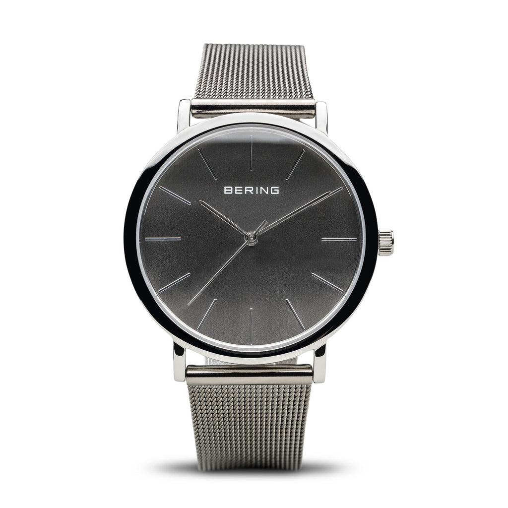 Bering Men's  Quartz Classic Polished Silver Stainless Steel Watch 13436-309