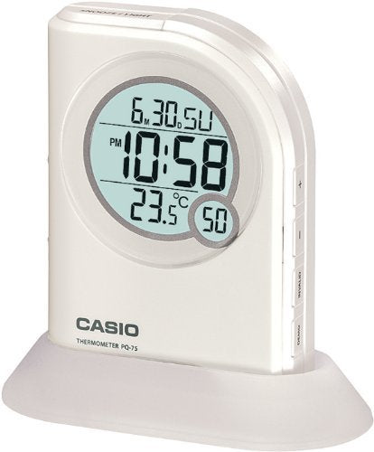 Casio Multi Function Thermometer Table Top White Digital Alarm Clock PQ75-7