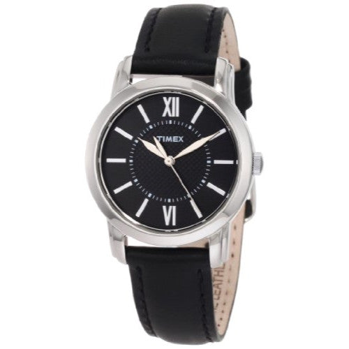 Timex Women's T2N681 Elevated Classics Dress Uptown Chic Black Leather Strap Watch