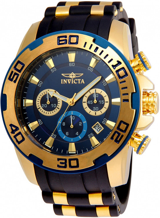 Invicta Men's Pro Diver Gold Plated S.Steel Black Silicone Watch 22341