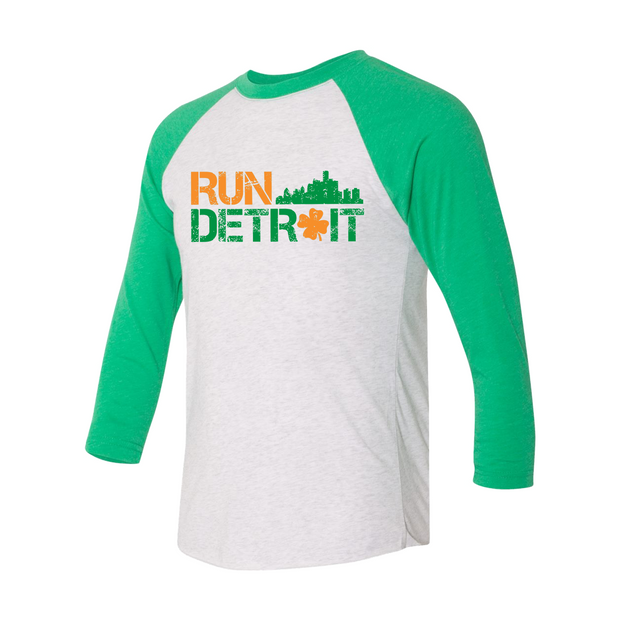 Run Detroit Raglan Green Sleeve Orange/Green (Unisex)