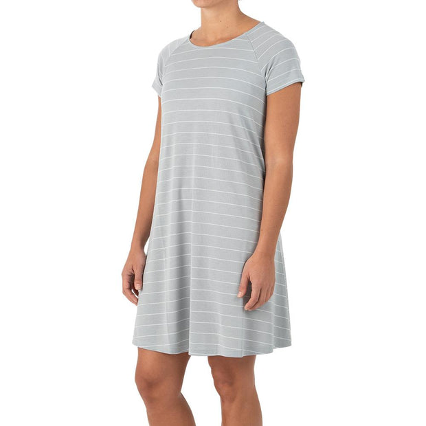 Bamboo Dockside Dress Aspen Grey Stripe