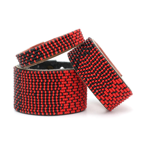 East African Beaded Leather Bracelet - T.Karn Imports