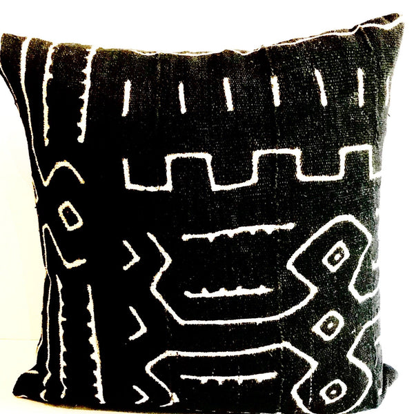 Black and White Mali Mud Cloth Throw Pillow - T.Karn Imports