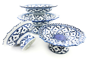 Hand painted Blue and White Pedestal Bowls - T.Karn Imports