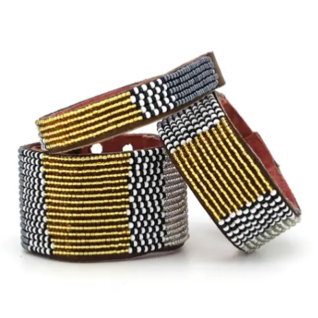 East African Beaded Leather Cuff - T.Karn Imports
