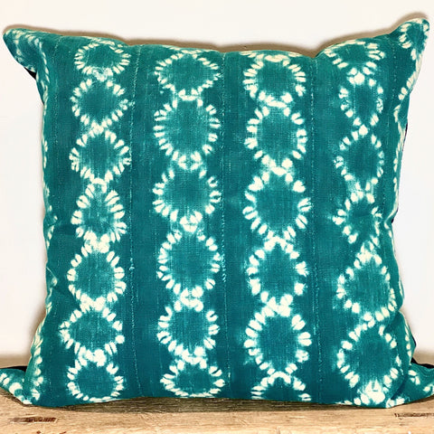 Teal and White Mud Cloth Throw Pillow - T.Karn Imports