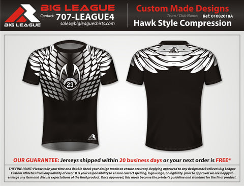 Hawk Style Compression - Black - Flag Football
