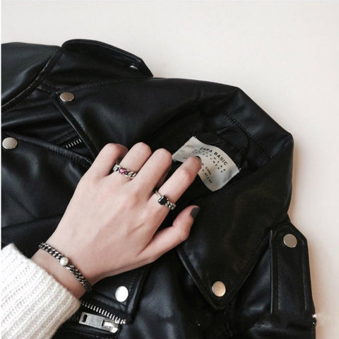 【In-Stock】Black Agate Asymmetric Ring