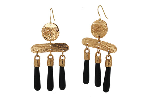 Copy of Gilded Chime Chandelier Earring - Jet