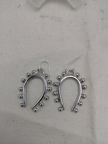 "Sample Sale - Silver Colored Beaded ""U""  Swinging Earring"