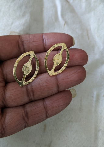 Lansana's Priestess Small Brass Post Earring - LN Remix