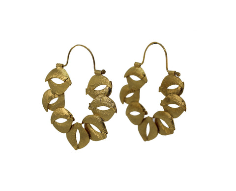 Organic Sculptured Reticulated Gold Hoop Earring