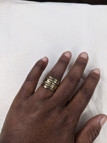 Sample Sale -Size 10 - Set of 3 Rings -Flatten the Earth(old version) - Hand Etched - Stackable Ring - Mix and Match Sterling Silver and Gold Plate