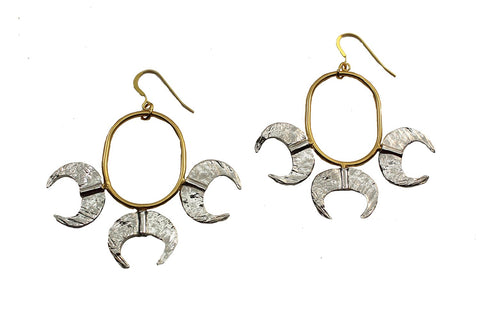 Golden Claws Mixed Metal Hoop Earring